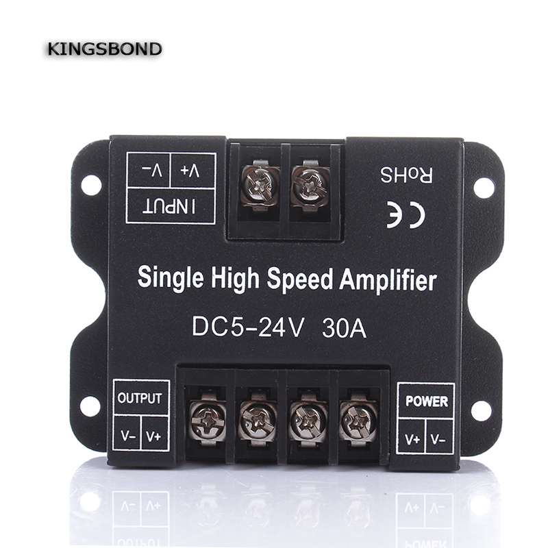 Dc5v 12 V 24 V 30a solo Color LED Amplificadores datos repetidor 1ch 1 canales dimmer energía Amplificadores para blanco llevó luces de tira