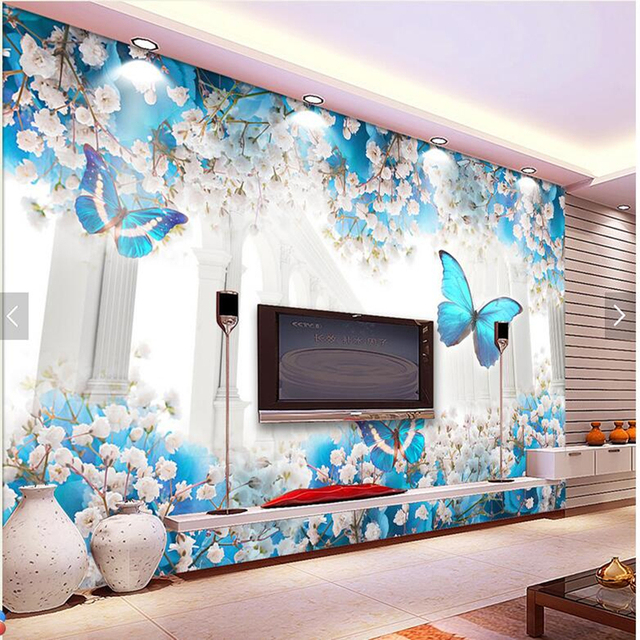 Custom Floral Wallpaper, Fantastic Flower Butterfly Roman Channel Murals  For The Living Room Bedroom Sofa