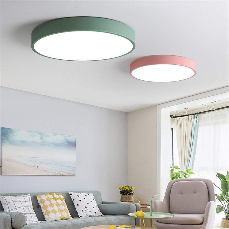 Colorful lED Ceiling Lights 6 colors metal lamshade kids room light kitchen lighting Ceiling lamp for corridor hotel bar aisle