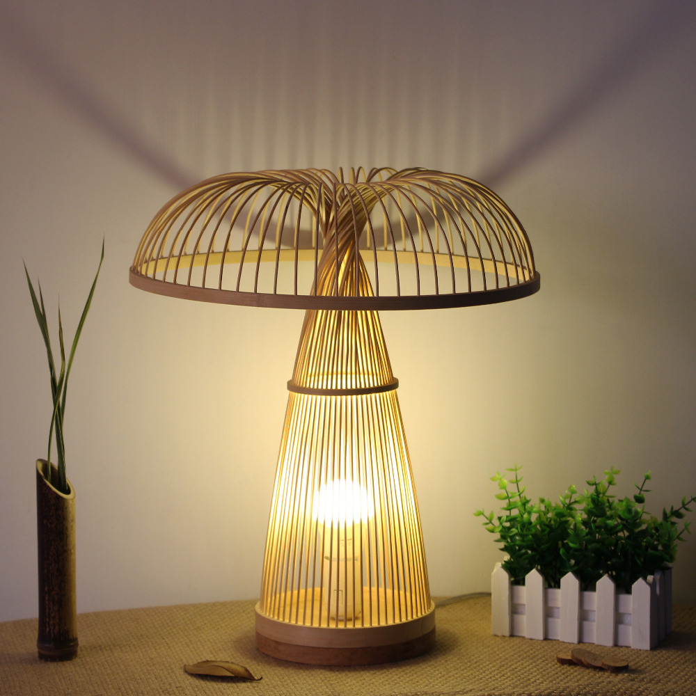 Бамбук гриб настольная лампа Стиль Спальня прикроватный настольная лампа домашнего интерьера чайхана японский татами Творческий Настольн...