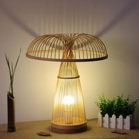 Bamboo mushroom table lamp style bedroom bedside desk lamp Home Furnishing teahouse Japanese tatami creative reading lamp