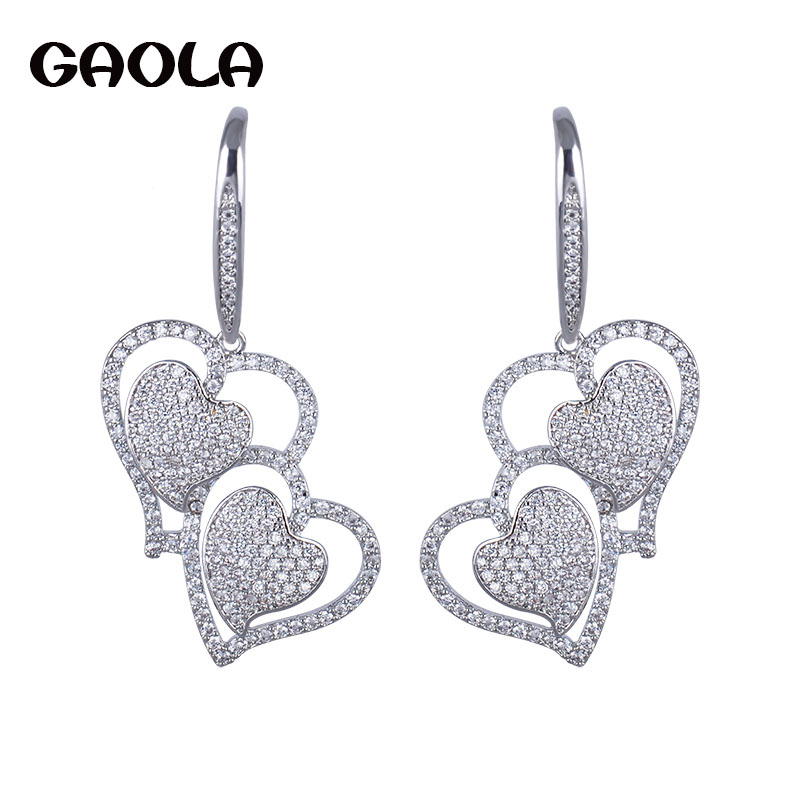 Top Quality Trendy Double Heart White Gold Color Earring Crystal Jewelry Fishook Dangle Earrings Wedding Gift for Woman GLE4165