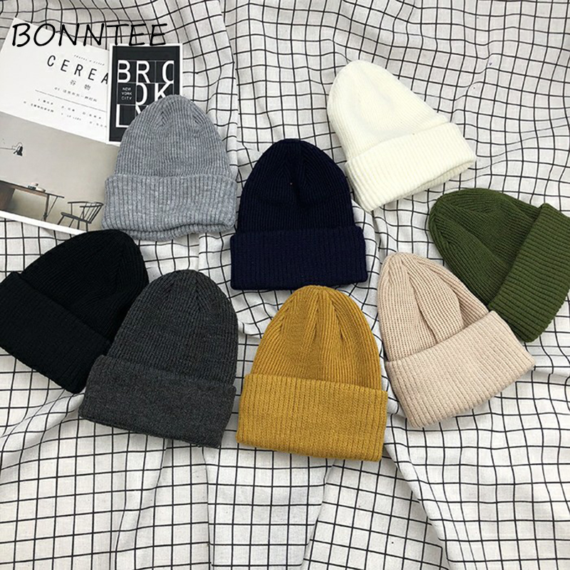 Skullise Women New Solid All-match Daily Kawaii Beanies Ladies Sweet Colorful Lovely Womens Fashion Korean Style Harajuku Chic