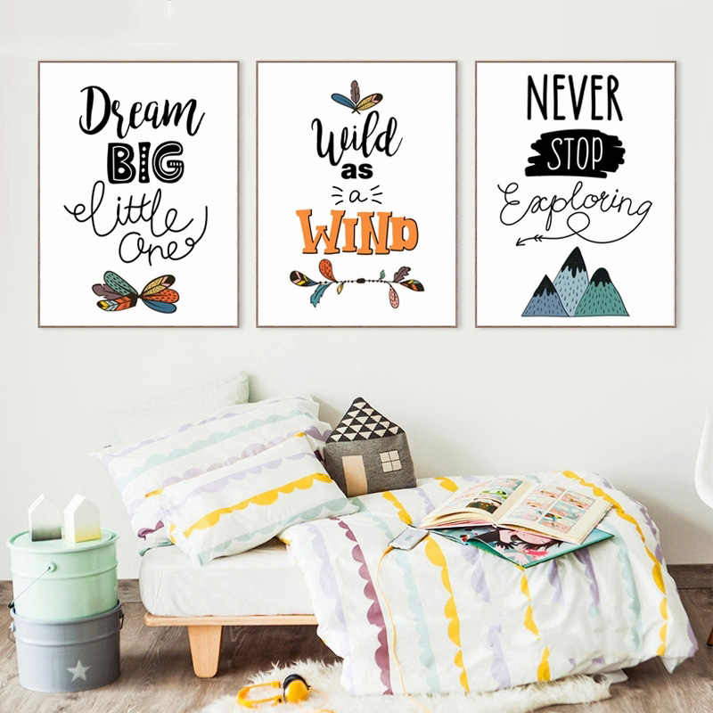 Nordic Printed Canvas Paintings Home Decoration Cute Cartoon Indian Inspirational Phrase Wall Artwork Modular Pictures Posters