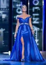 Senior Satin Royal Blue Abendkleider Seitenschlitz A-line V-ausschnitt Flügelärmeln Falten Perlen Gürtel Formale Abendkleider vestido de festa