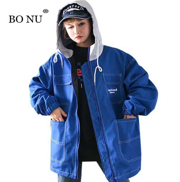 BONU Letter Printed Hooded Loosen Bomber Jacket Student BF Big Pocket Jacket Harajuku Oversize Windbreaker Jacket Women Coat