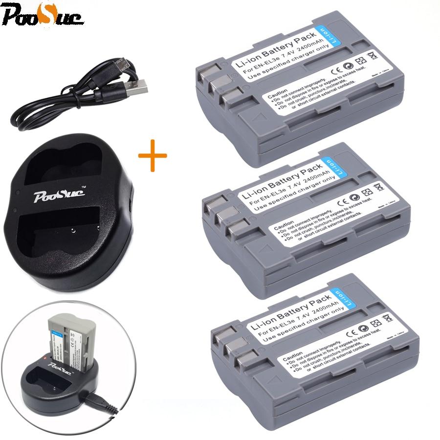 <font><b>EN</b></font> <font><b>EL3e</b></font> <font><b>EN</b></font>&#8211;<font><b>EL3e</b></font> Камера батареи ENEL3e 2400 мАч Bateria + двойной Зарядное устройство для цифровых зеркальных фотокамер <font><b>Nikon</b></font> D50 D70 D80 D90 D100 d200 D300 D700 батареи