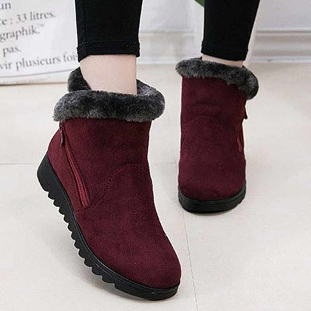 Women cozy casual winter ankle boots 2017 new arrival flat with non slip keep warm female
