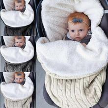 Newborn Infant Baby Sleeping Bag Knit Crochet Winter Hooded Stroller Swaddle Blanket Soft Solid Wrap Knitted Sack Bedding недорого