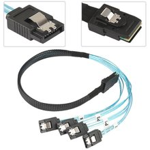 MINI SAS 4i SFF-8087 36 Pin untuk 4 SATA 7-Pin HD Splitter Breakout Biru Kabel V2 untuk PC komputer(China)