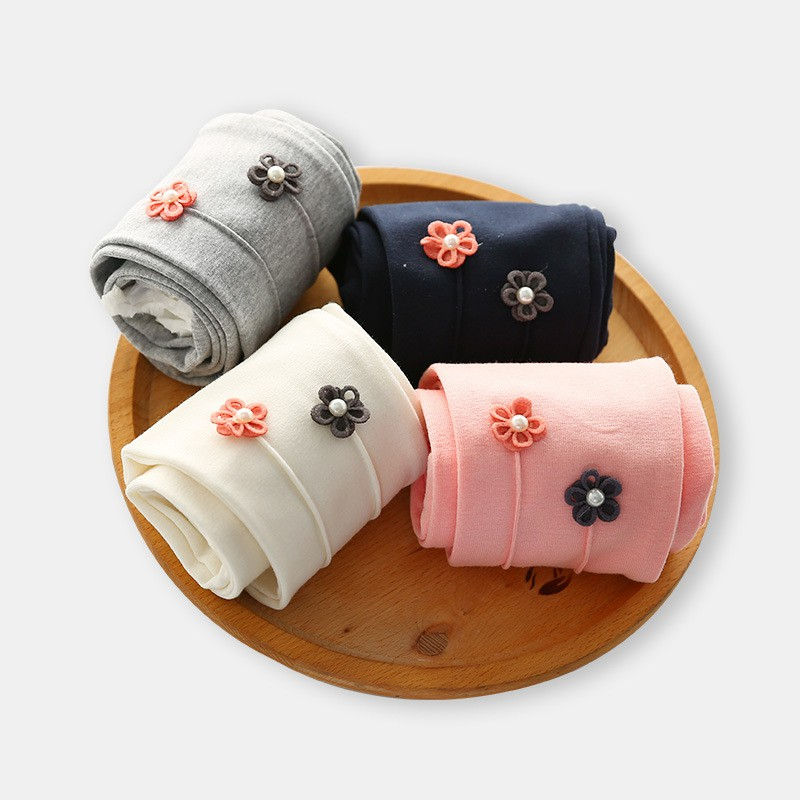 2019 New Autumn Fashion Girls Small Flower Embroidered Leggings Children Leggings Pants Baby Kids Clothing