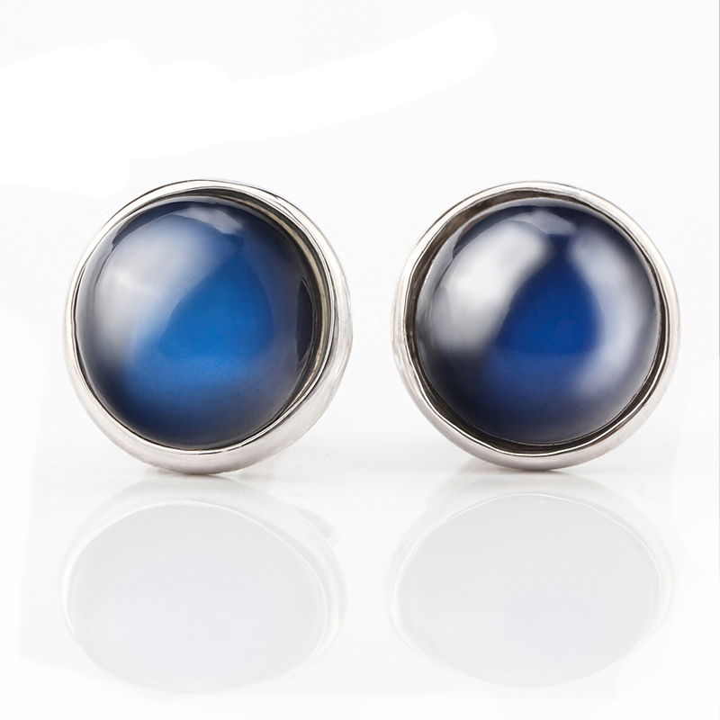 Natural blue moonstone real 18k white gold earrings,6mm round shape,modern stylish jewelry for women