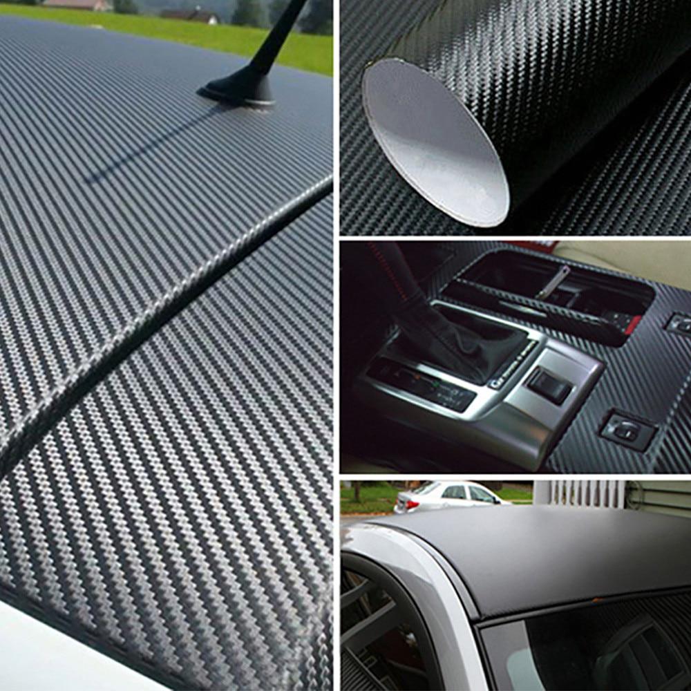 Zwarte Mode 3D Carbon 127*20 Cm Fiber Vinyl Sticker Voor Motorfiets Auto Pod
