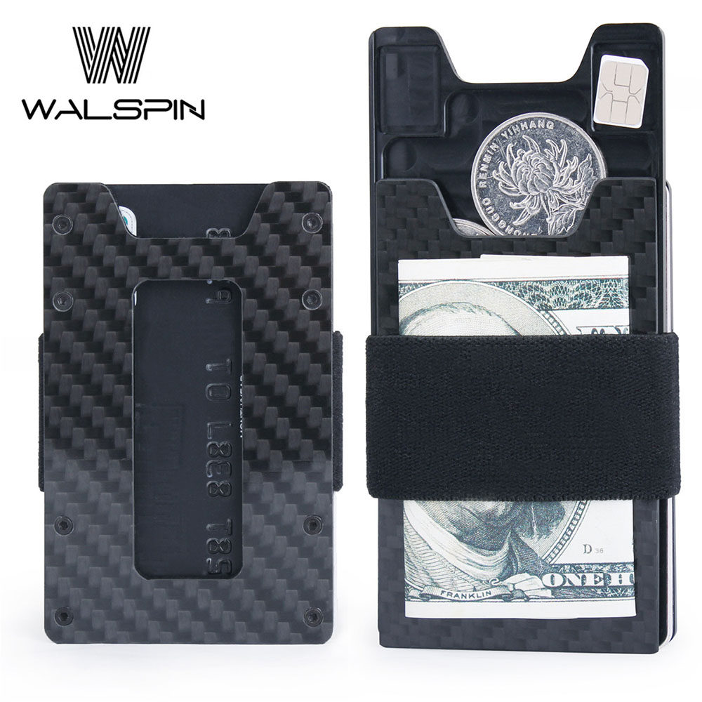 Minimalist Carbon Fiber Slim Wallet For Men & Women  Aluminum Front Pocket Key Coin Case & Credit Card Holder RFID Blocking