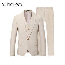 YUNCLOS 2018 New Men Suit 3 Pieces Party Dress Yellow Linen Suits Tuxedo Latest Coat Pant Designs Slim Fit Casual Fashion Style