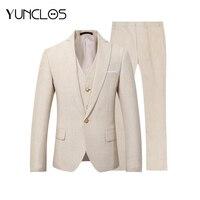 YUNCLOS 2019 New Men Suit 3 Pieces Party Dress Yellow Linen Suits Tuxedo Latest Coat Pant Designs Slim Fit Casual Fashion Style