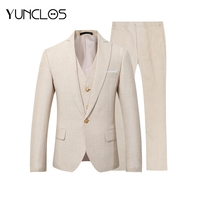 YUNCLOS New Men Suit 3 Pieces Party Dress Yellow Linen Suits Tuxedo Latest Coat Pant Designs Slim Fit Casual Fashion Style