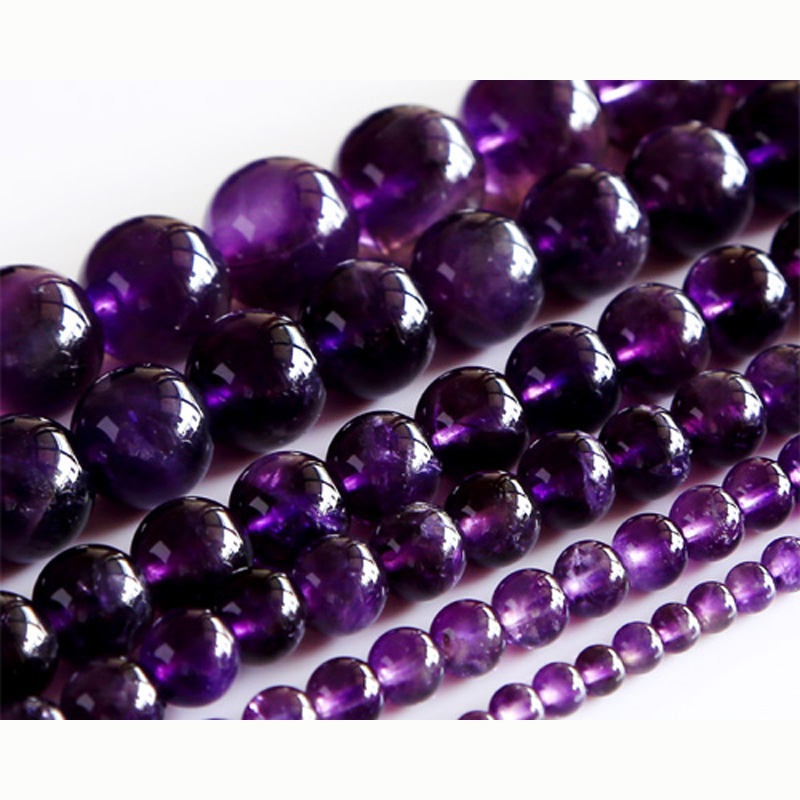 "16MM Genuine Natural Amethyst Grade A Round Gemstone Loose Beads 15/"""