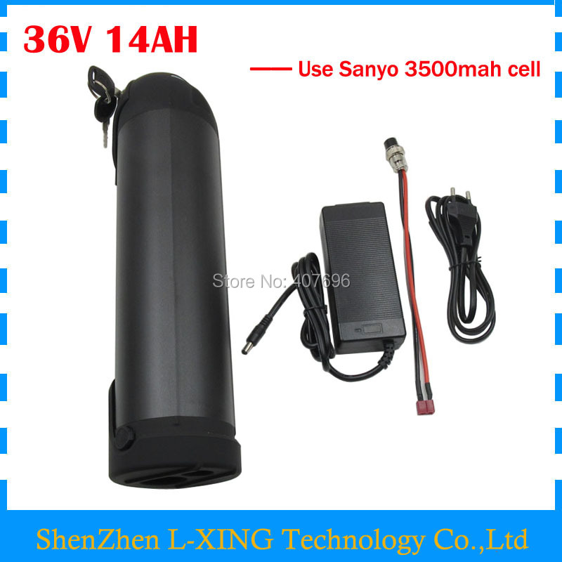 Free customs fee 36V 14AH Electric Bike battery 36V 14AH battery 36V Water bottle battery use SANYO NCR18650GA cell 2A Charger free customs tax 36v 500w ebike lithium battery 36v 15ah electric bike down tube bottle battery with charger for samsung cell