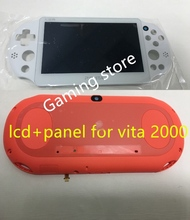 original new for ps vita for psvita psv 2000 lcd display screen assembled white + back panel cover red + screen protector