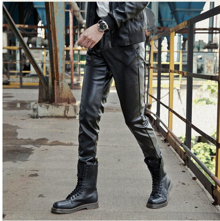2019 new fashion leather pants male Korean version of the slim feet pants men's tight motorcycle leather pants - 4