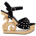 LF30830 Gothic Punk Spike Wooden Look Wedge Platform Club Clogs Sandals Size 4/5/6/7/8/9