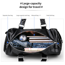 Large Capacity Black Travel Bag Waterproof Leather