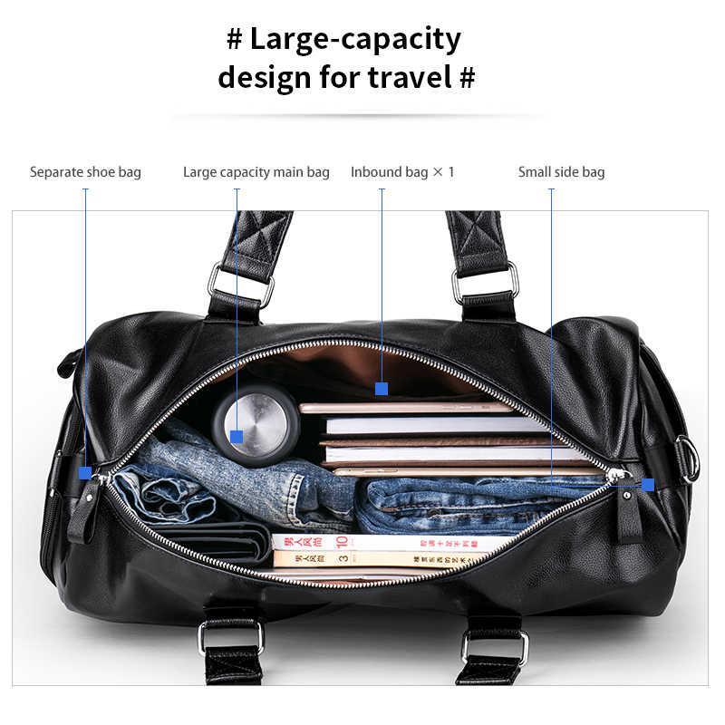 LIELANG Мужская черная сумка для путешествий водонепроницаемая кожаная большая Вместительная дорожная Сумка многофункциональная сумка повседневная сумка через плечо