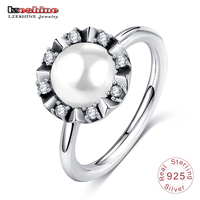 LZESHINE Authentic 925 Sterling Silver Promise Rings With Pearl Clear CZ Original Party Gift Jewelry PSRI0019