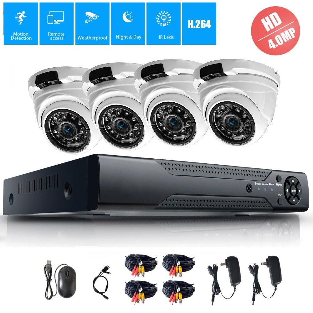 4MP 4CH Sécurité CCTV Système 4.0MP AHD Dôme Extérieur Intérieur Caméra de Surveillance Étanche IR Nuit Vision Caméra Kit