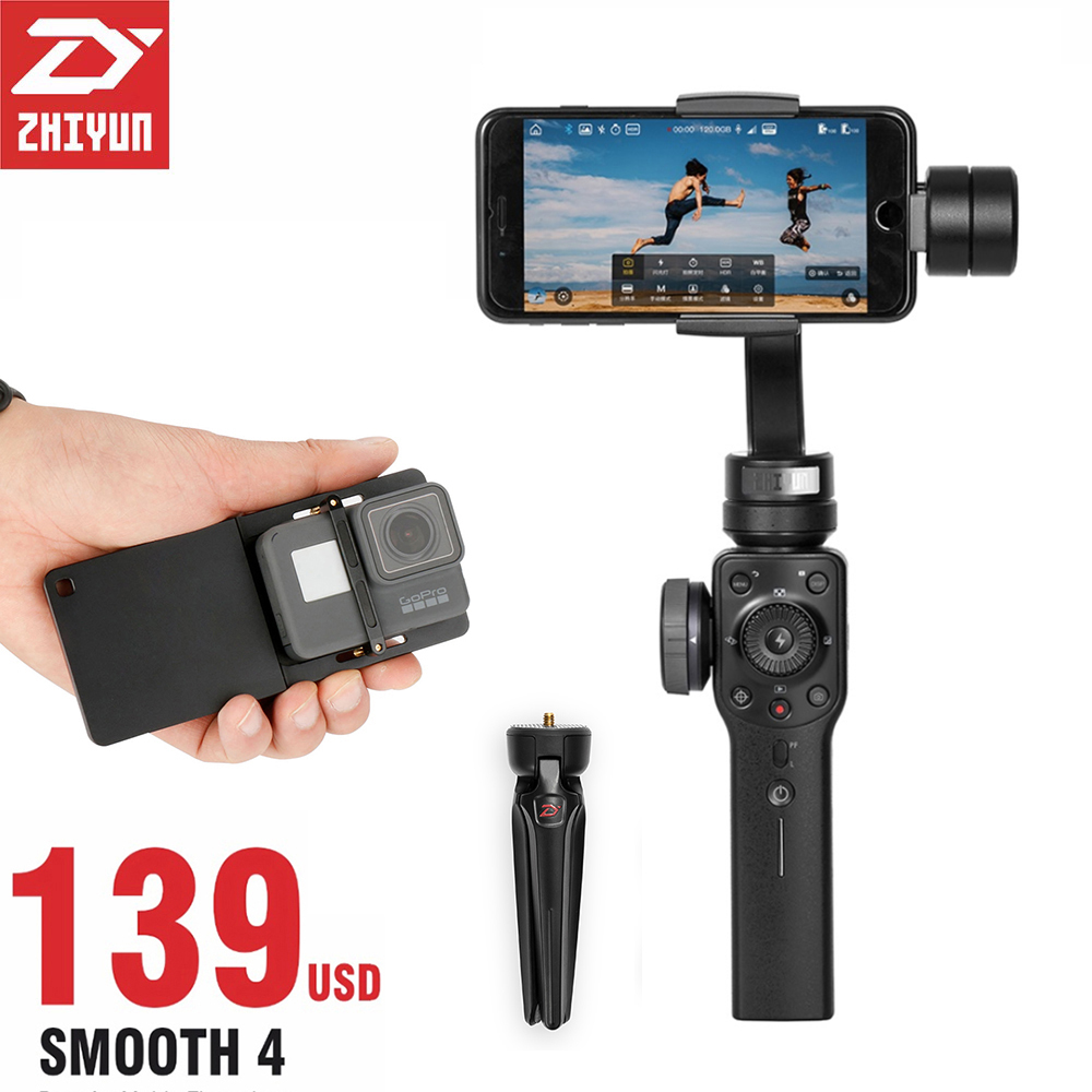 Zhiyun-tech Zhiyun Glatte 4 3 Achsen Halterung Steadicam Stabilisator für iPhone X 8 Gopro Hero 5 SJCAM SJ7 Xiaomi Yi 4 karat action kamera
