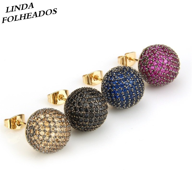 LINDA FOLHEADOS Golden Color Copper Pins Multicolor Cubic Zirconia Stud Earrings Women's Party Fashion Jewelry