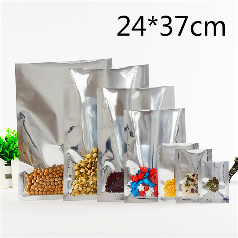 24*37cm Silver Mylar Ping Pocket Heat Seal Front Clear Aluminum Foil Bag Food Tea Beans Storage Open Top Vacuum Packaging Pouch