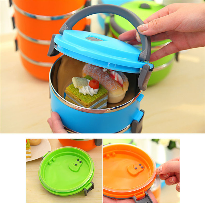 Stainless Steel Bento Lunch Box for Kids Thermal Food Container Portable Dinnerware Sets blue three layers 4