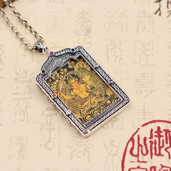 NEW 925 Silver Tibetan Manjushri Thangka Pendant Necklace Sterling Silver Buddhist Manjushri Buddha Necklace Pendant new 925 silver tibetan medcine buddha thangka pendant necklace pure silver tibetan medicine buddha necklace pendant