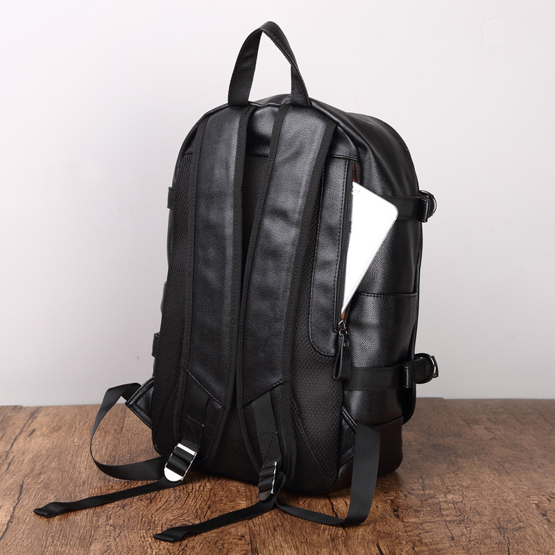 Simple Patchwork Large Capacity Mens Leather Backpack For Travel Casual Men Daypacks Leather Travle Backpack Mochila Waterproof #6