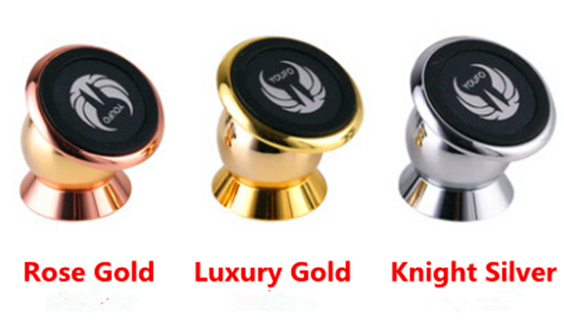 100pcs A Lot Magnet Mobile Phone Holder For Car 360 Rotating Aluminium Alloy With Many Beautiful Sticker Free Shipping