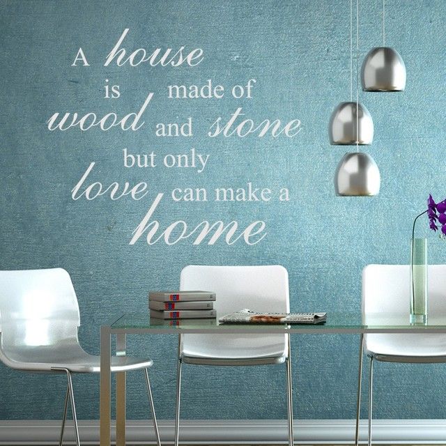 house is made of wood and stonelove makes family love wall