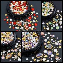 1 Pot Mix Shapes Flatback Diamond Pearls Gold Triangle Oval Metal Frame Heart Nail Art Rhinestones Decorations Manicure DIY Tip
