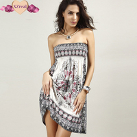 2017 New Summer Women S Beautiful Off The Shoulder Strapless Ethnic Print Bohemian Sundress Fashion Sexy
