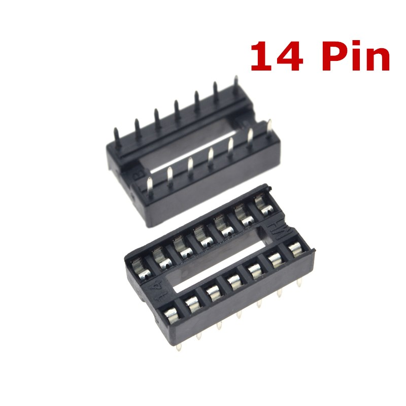 20PCS 14 Pin DIP Square Hole IC Sockets Adapter 14Pin Pitch 2.54mm Connector CAIZHIXING