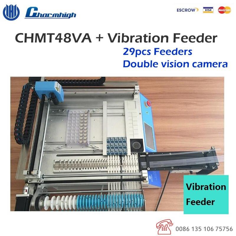 ¡DE DESCUENTO! CHMT48VA visión de escritorio de selección y colocación de la máquina + alimentador de vibración (alimentador de tubos) pequeño lote prodcution prototiping