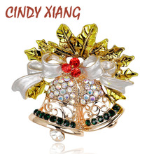 Bell Shape Hollow Style Brooches Zinc Alloy and Gold Plated for Women Fashion Ornament Inlay Shiny Rhinestone and Crystal Pins