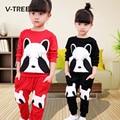 V-TREE Весна Осень Новорожденных Девочек Одежда Устанавливает Мода Стиль Panda Одежда Наборы Для Девочек Дети Дети Детские Наборы Костюм Одежды