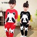 V-TREE Primavera Otoño Ropa de Bebé Niñas Establece Moda Estilo Panda Juegos de Ropa Para Niñas Niños Niños Del Juego Del Bebé Fija la Ropa