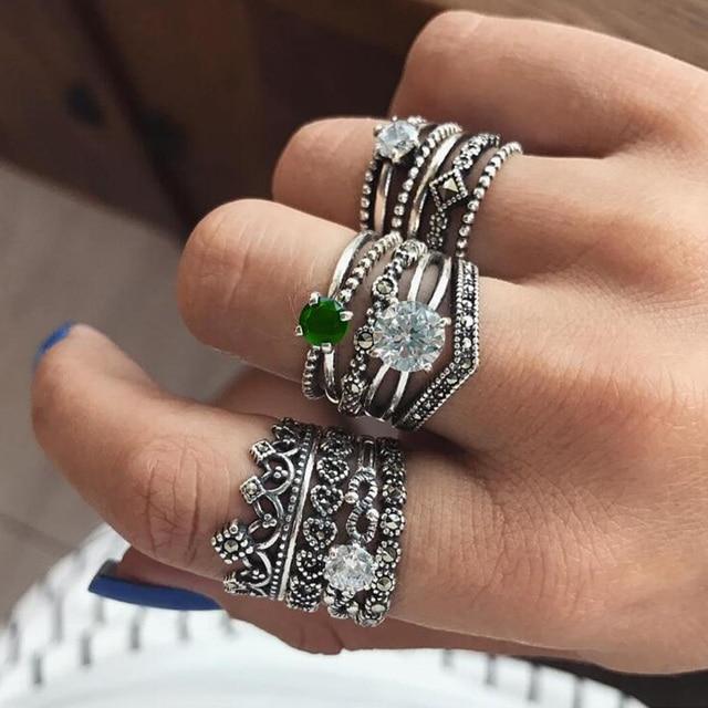 Meyfflin Vintage Knuckle Rings for Women Punk Antique Silver Color Crown Heart C