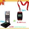 Eletrônico de alarme 2 pcs relógio de pulso pager com corda no pescoço e 10 de campainha de mesa e 10 de menu