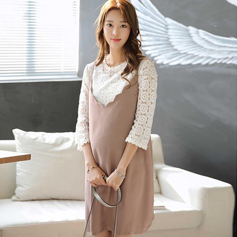 Pregnant Women Dress Korean Lace Top + Loose Sling Maternity Dresses Fashion  Suit Pregnancy Clothing Loose 85d494bb7eea
