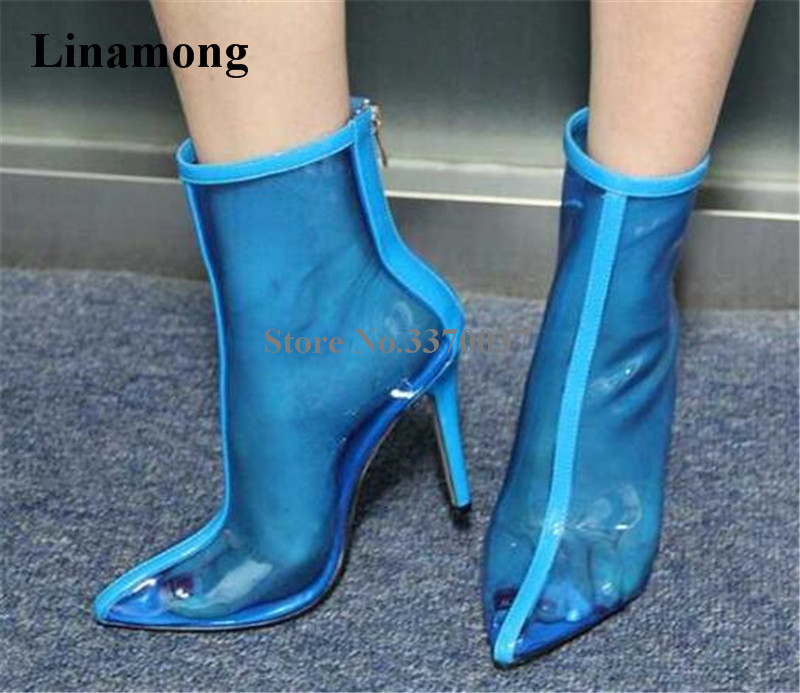 2018 New Fashion Women Sexy Pointed Toe Transparent PVC Thin Heel Short Boots Back Zipper-up Blue Perspective Ankle Booties glitter silver stars patchwork women sexy transparent pvc boots fashion peep toe ladies square heel ankle boots zipper back boot