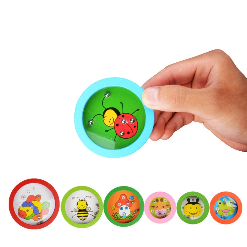 Cartoon Animals Round Wooden Puzzle Magnet Beads Slot Maze Board Game Educational Toys Learning Intelligence Game For Kids
